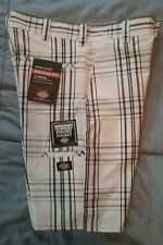New Mens Dickies Regular Fit Work Shorts White Black Plaid Sz 30 NWT Inseam 11""