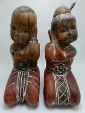 Asian Wood Block Carving Boy Girl Sleeping Pair Vintage 10 Inch