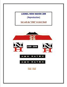 Lionel New Haven 209 Repro FULL SET For 1ea. Cab  (Water Slide)