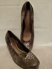 Seychelles Women's Shoes Brown Silver Leather Snake Skin Look Size 7 1/2 Wedges