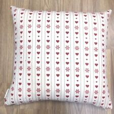 Handmade Red hearts with Stars Natural Linen Cotton Cushion Cover. Various sizes