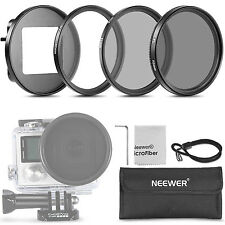 52mm Filter Kit(UV+CPL+ND4 Filters+Adapter+Pouch+Cloth)For Gopro Hero 3+/4