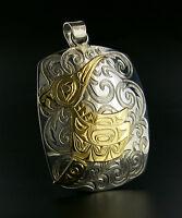 14 Karat Gold on Sterling Silver Hummingbird Pendant Northwest Coast Native Art