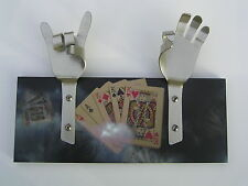 METAL DANDIE HANDS WITH PLAYING CARDS Gambler Casino Bag Coat hook hanging Rack