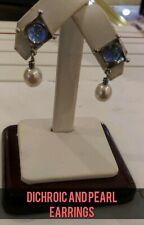 ORIGINAL TROLLBEADS DICHROIC GLASS    AND PEARL EARRINGS. TAGEA-00054