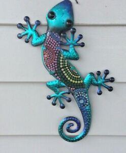 38cm  Tribal Pattern Art Metal/Glass Lizard Wall  Decoration