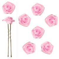 6 épingles pics cheveux chignon mariage mariée danse fleur satin rose dragée