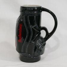 "Vintage 1993 Black Red & White Budweiser 7"" Beer Stein Golf Bag Ceramarte Brazil"