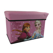New Disney Frozen Anna Elsa Pink Collapsible Toy Storage Box Trunk Sitting Chair
