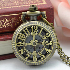 2018 Vintage Steampunk Retro Bronze Design Pocket Watch Quartz Pendan Necklace