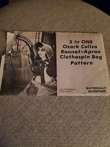 Vintage Pattern 3 in 1 Ozark Bonnet Apron Clothespin Bag Sewing pattern