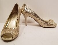 Guess 9 M Gold Sequin Heels Pump Peep Toe Holiday Homecoming Prom Party