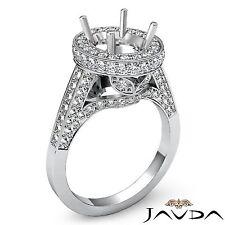 Platinum Diamond Engagement 1.3 Carat Ring Oval Shape Semi Mount Halo Pave Set