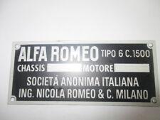 Nameplate Alfa Romeo Shield Id Plate 6C 1500 6C1500 6 C Super Sport Placca