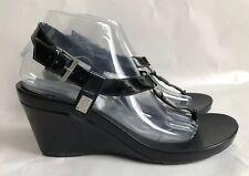 BCBGeneration Platform Thong Black Wedge Slides w/ Strap Sandals Size 8.5M
