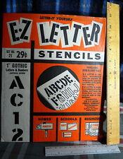"E-Z LETTER STENCIL 1""  Gothic *  1964 VINTAGE N O S #21"
