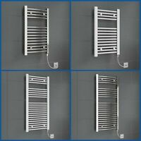 Chrome White Heated Towel Rail Radiator Straight Electric Bathroom Heating Rad