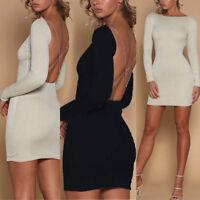 Womens Sexy Blackless Shiny Bodycon Dress Ladie Evening Party Club Mini Dress UK
