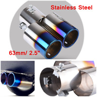 Universal 63mm Stainless Steel Round Car Rear Exhaust Pipe Tail Muffler Tip