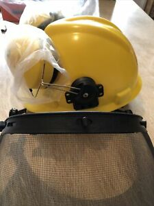 NEW Safety Helmet with Ear Defenders and Visor, Yellow