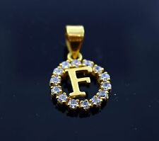 22k Jewelry Solid Gold Round Shape Pendent F letter with stone  pf5