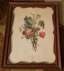 Vintage Botanical Flower Print Wood Framed Floral Bouquet Jean Louis JL Prevost