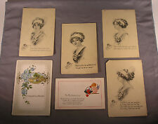 Lot of 4 Antique Postcards Artist Signed A. Toniolo Pretty Girl with Poem etc.