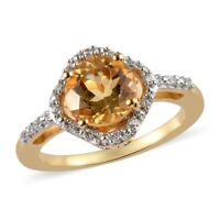 925 Sterling Silver Vermeil Yellow Gold Over Citrine Zircon Halo Ring Ct 1.4