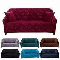 Stretch Velvet Sofa Cover Couch Loveseat Slipcover Home Embossing Flower Nonslip