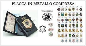 Portafoglio Porta Doc, Pelle con Placca Metallo Vega Holster Italia 1WD Scegli