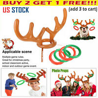 Inflatable Christmas Reindeer Antler Hat Toss Ring Holiday Party Game Prop Toys