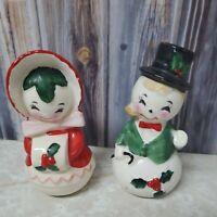 Vtg Anthropomorphic Snowman Couple Salt Pepper Shakers Japan Girl Boy Holiday