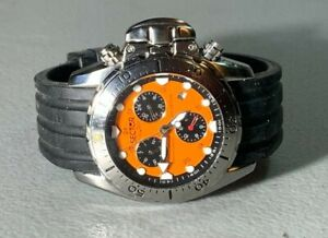 MENS SWISS SECTOR DIVER 800 NO LIMITS AUTOMATIC CHRONOGRAPH ORANGE DIAL WATCH