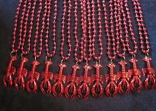 "1 DOZEN (12)  ""RED CRAWFISH"" 33 in. MARDI GRAS NECKLACES BEADS MUDBUGS CRAYFISH"