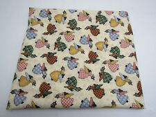 Cotton Fabric Plaid Angels Watering Cans Quilt Craft Primitive Folk Art 1 YD