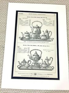 Antique Christofle Silver Plated Tea Set Teapot French Print Advert Ca. 1898