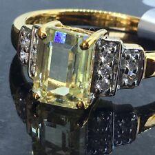 Gemporia 1.97ctw Emerald Cut Canary Spodumene & White Zircon Ring Size 8