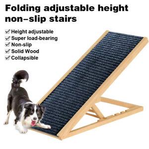 Adjustable Pet Dog Cat Ramp Wood+Carpet Non-Slip Stair for Bed Sofa Car Portable