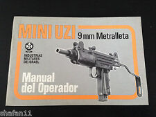 Mini Uzi Metralleta 9mm Original IMI Manual del Operador in SPANISH