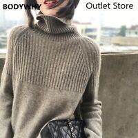 Women Cashmere Sweater Turtleneck Retro Loose Sets Large Size Loose Sweater