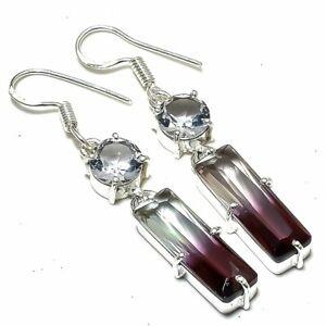 "Bi-Color Tourmaline, White Topaz Gemstone Jewelry Earring 2.1"" ERJ2400"