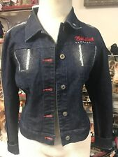 a8115fbb603 Ecko Red Women s Medium Dark Wash Jean Denim Jacket Cotton Button Front  Sparkles
