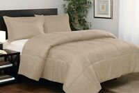 Branded Down Alternative Comforter Egyptian Cotton Taupe Solid Cal King Size