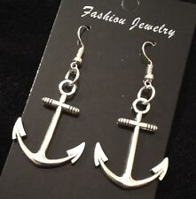 Large Anchor Earrings Nautical Rockabilly Charm Studs Hook Dangle SILVER Sailor