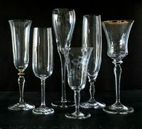 Vintage Champagne Flutes Wine Glasses Crystal Etched Gold Barware Collection 6