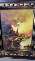1970´s Oil painting of ships at sea. Signed art work.