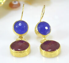 Ottoman Gems semi precious gem stone gold plated earrings Jade Turkish Handmade