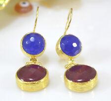 Otomano Gemas Semi joya preciosa piedra Pendientes De Oro Plateado Jade Turco Hecho a Mano