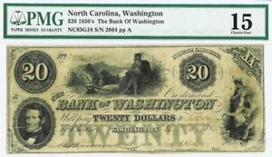 1850s THE BANK OF WASHINGTON, NC $20 OBSOLETE CURRENCY NOTE PMG CHOICE FINE 15