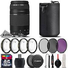 Canon EF III Lente 75-300mm f/4-5.6 + Kit De Macro 4PC + uv-polarizador circular-Filtro Fld-Kit 32GB